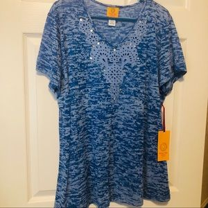 Blue Burnout top with embellishments